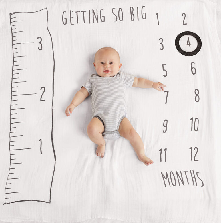 This muslin milestone blanket will measure Baby's growth,  featuring one to 12 month indicators and a movable felt ring.