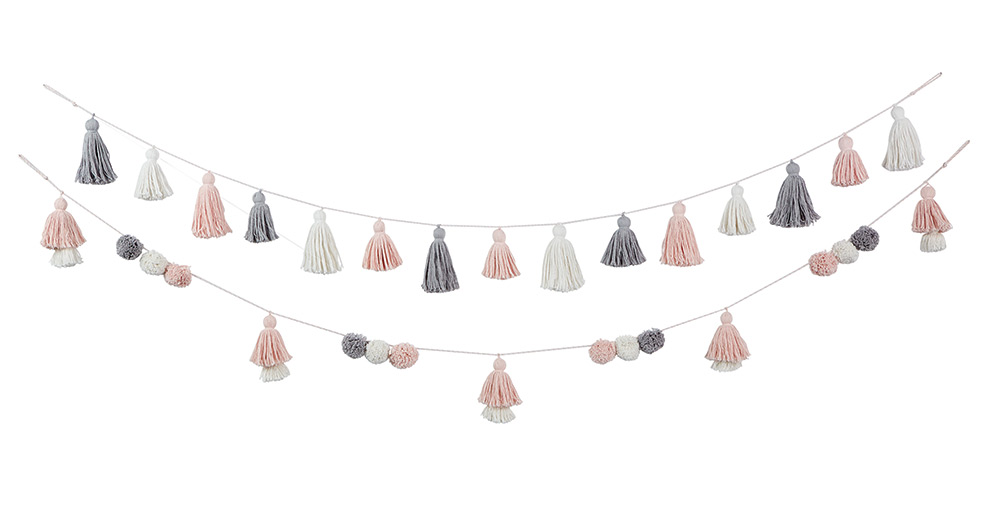 Cotton rope garland accents the nursery's colorway, with multicolor tassels and looped ends for easy decorating.