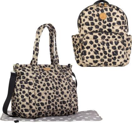 Twelve Little leopard  diaper bag and matching backpack