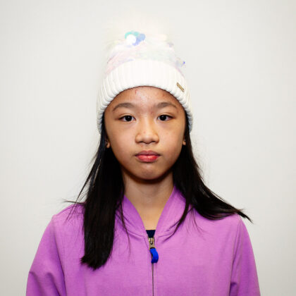 """Jia, Future Ice Capades Star: """"A fluffy coat and fluffy scarf are definitely my winter favorites."""""""