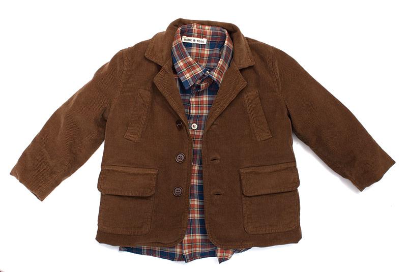 Babe & Tess corduroy jacket and plaid shirt