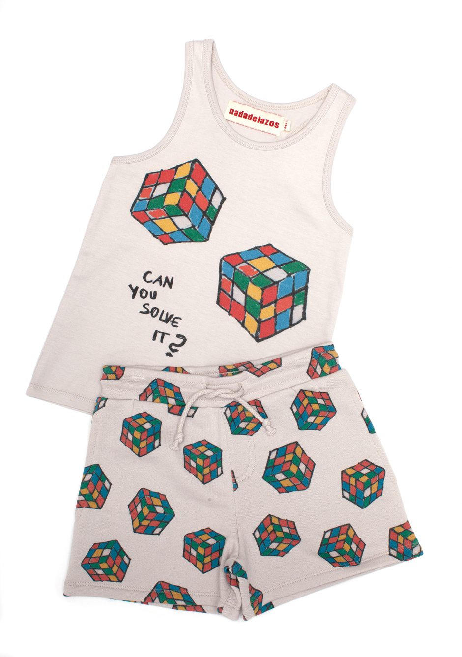 Nadadelazos puzzle tank top and shorts