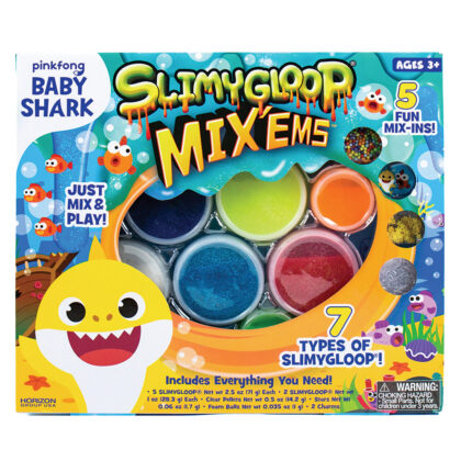 Baby Shark SlimyGloop Mix'Ems - Baby slime, do-do-da-doo-da- doo...baby slime! Seven types of slimy gloop with five mix-ins.