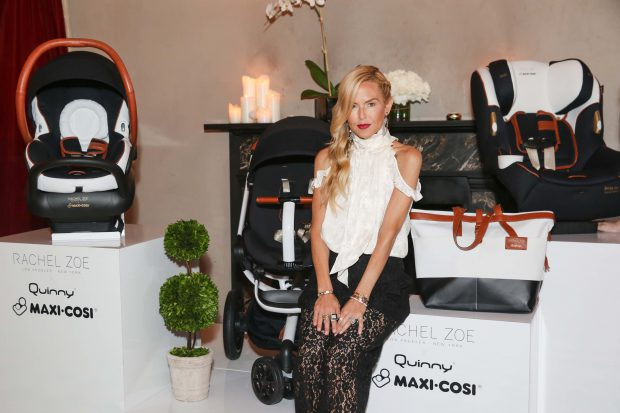 Rachel Zoe poses with the Rachel Zoe x Quinny and Maxi-Cosi Collection at the collection's launch party at The Gramercy Park Hotel Terrace in NYC.