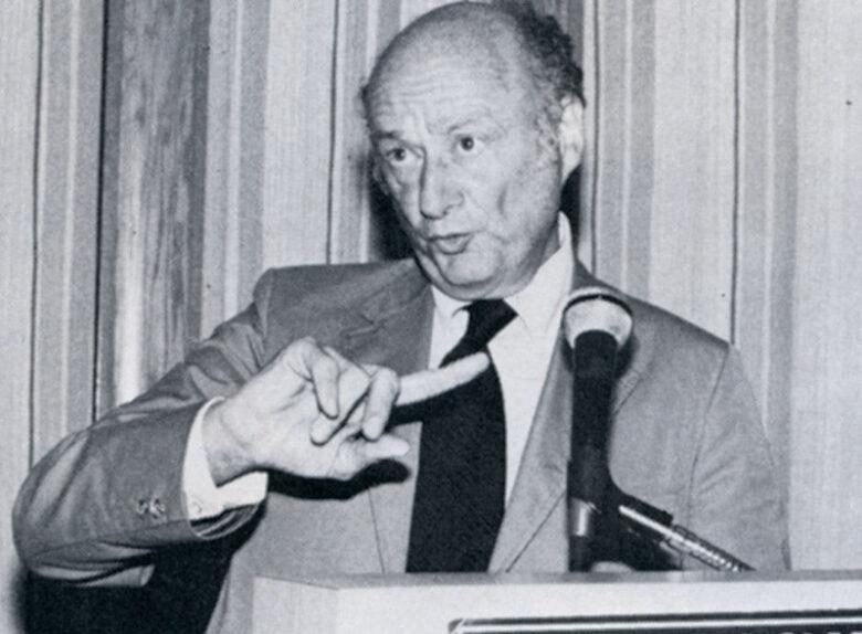 New York mayor Edward Koch gives speech during  awards dinner. 1981, Sept. issue