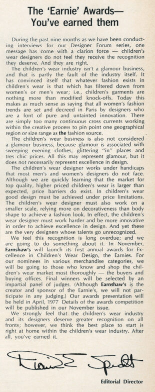 Announcement introducing the Earnie Awards, published in October 1976.