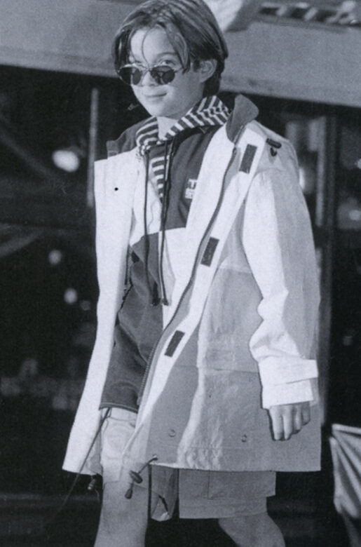 Model  showcases Earnie-winning collection by Tommy Hilfiger. 1995, Jan. issue