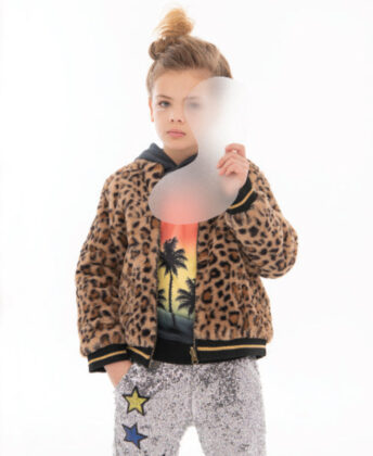 Sophia wears Andy & Evan leopard faux fur bomber jacket,  Lola + the Boys palm tree hoodie and sequin pants.