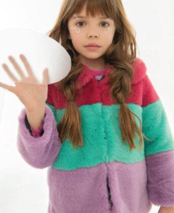 Layla wears Hatley colorblock faux fur coat.