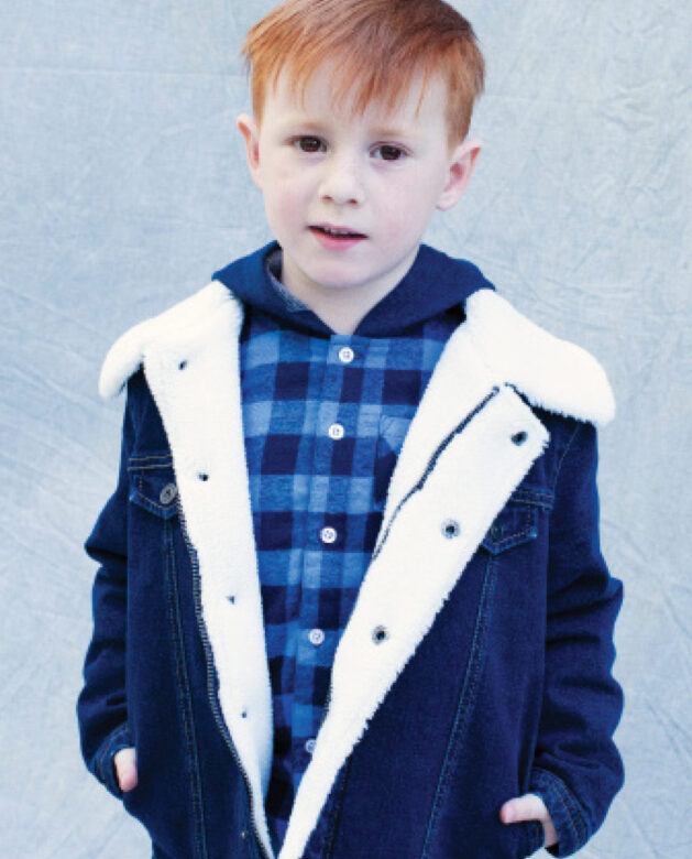 Nicholas wears  Andy & Evan  hooded flannel and  3 Pommes jacket.