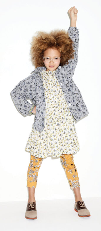 Sydney wears Omibia dress, Munster Kids pants and Yellowpelota jacket and Florsheim shoes.