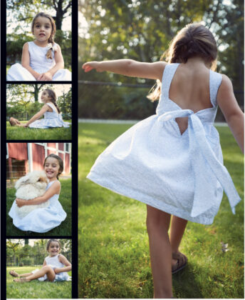 Valentina wears dress by Coquelicot, Bows Arts bow and Bearpaw sandals.