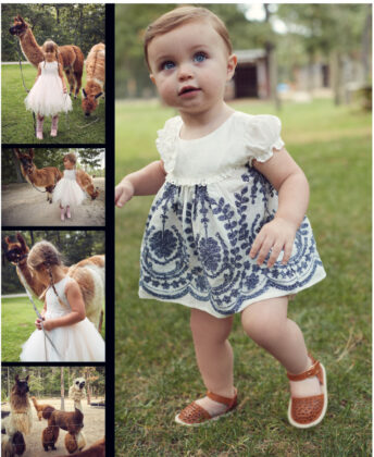 Siena wears Isobella & Chloe dress with Consciously sandals.
