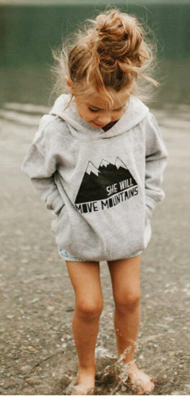 Made of Mountains hooded gray sweatshirt